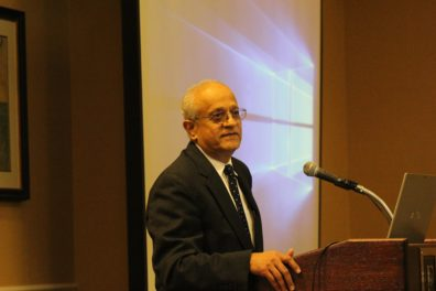 Sonny Ramaswarmy, director of the National institute of Food and Agriculture, addresses the participants of NARA's meeting in Arlington, VA after the flight