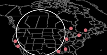 North America hydrogen liquefier map