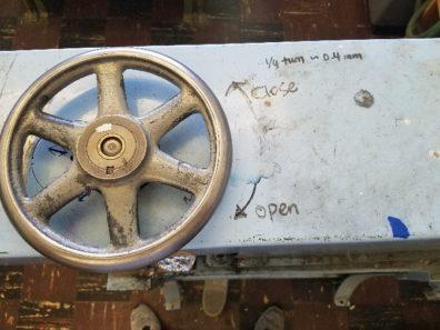Rolling mill adjustment handle.