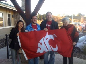 Colin White (third from the left) with two students who received scholarships from his WSU Honors College endowment and former WSU Honors College Dean, Libby Walker (far right).