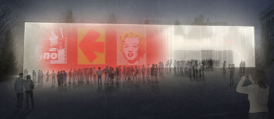 Concept rendering for proposed WSU Museum of Art.
