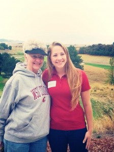 Carly, the 50th recipient of the Virginia Shaw Alumnae Scholarship, poses with Annette, the first-ever recipient.