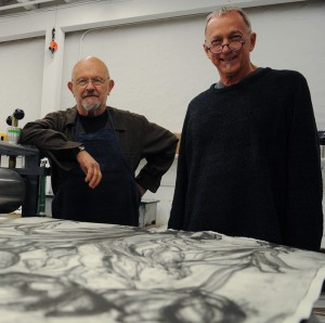 Artist Jim Dine and Chris Bruce, director of WSU's Museum of Art.