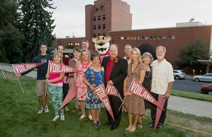 Gene and Linda Voiland (center) are joined by their family at the dedication ceremony for the Voiland College of Engineering and Architecture on Sept. 18.