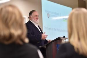 Rand Wortman, CEO of Kadlec Regional, announces $18 million endowment for the WSU Tri-Cities Nurse Practitioner program.