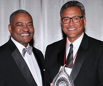 WSU President Elson S. FLoyd with 2013 Biff Brotherton Spirit Award Recipient Jack Thompson