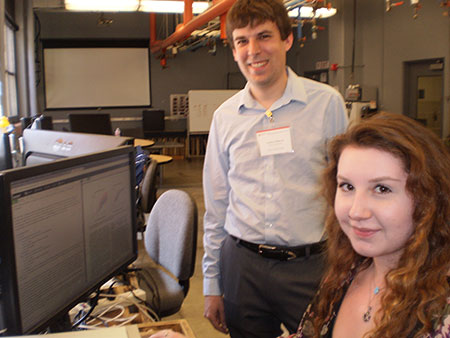Andrew Pilloud ('11 Comp. Engr.), and Rachel Forbes, president of WSU's Linux Users Group, in Sloan Hall's computer lab.