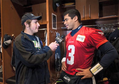 Spencer Anderson interviews Seahawks quarterback Russell Wilson.