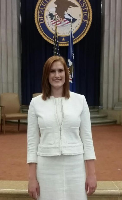 Photo of Stephanie Logan at the Department of Justice in Washington, D.C.