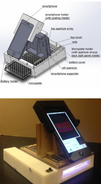 A 3D printed cradle holds the smartphone integrated with optical components