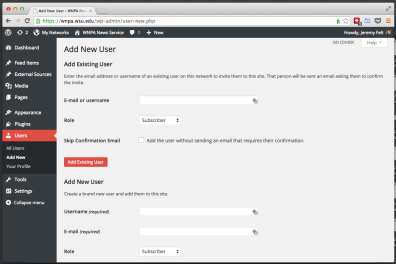 The add new user screen provides areas for existing users of the platform or for entirely new users.