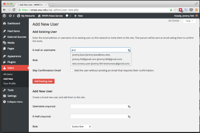 To see if you are adding an existing user, start typing their username or email address.