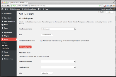 Select the desired role on this site for the existing network user and check the box to skip confirmation.