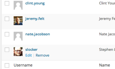 To edit a user, go to the All Users page and click edit under the specific user row.