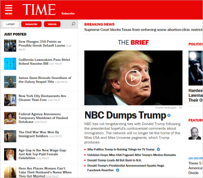 Time magazine home page