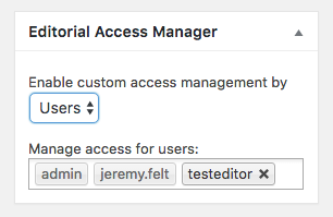 Manage editorial access to a page by user