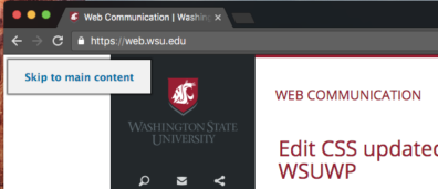 Screen reader assistance for main content navigation