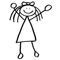Stick Figure girl jumping 198x198